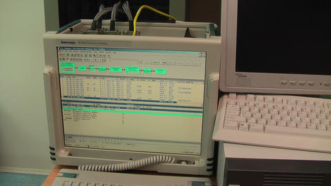 Monitor of working protocol tester in technical site Footage