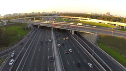 Aerial shot of city traffic interchange Footage