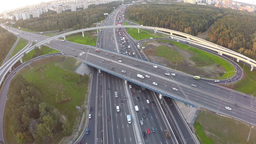 Aerial shot of traffic on multilevel interchange Footage