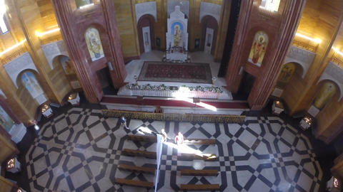 Aerial view of church interior and altar decoration Footage