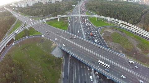Central highway and overpasses, aerial view Footage