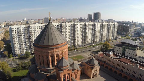 Flying over Orthodox church in the city Footage