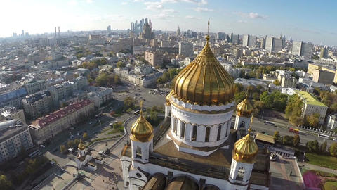 Cathedral of Christ the Saviour with shining domes, aerial view Footage