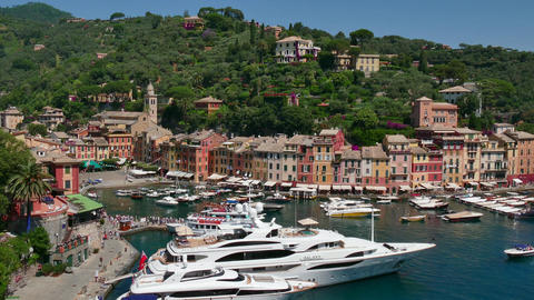 Portofino Italy Beautiful Sea Town Village On Italian Riviera Coast Footage