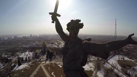 The Motherland Calls statue against bright sunshine Footage