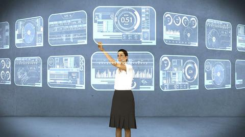 Businesswoman touching digital screen Animation
