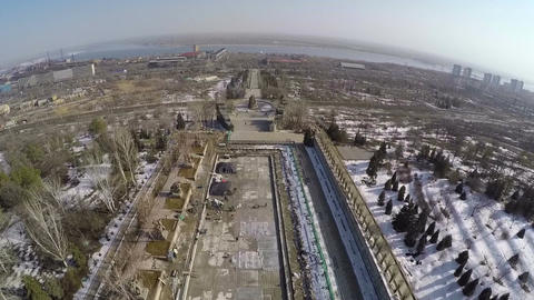 Waterside city on spring day, aerial view Stock Video Footage