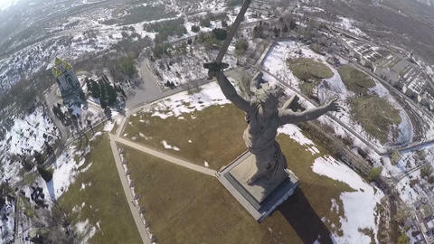 Flying over monumental statue Motherland Calls in Volgograd, Russia Footage
