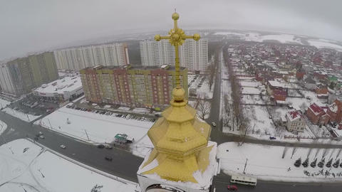 Aerial view of Saint George Church in Kursk, Russia Footage