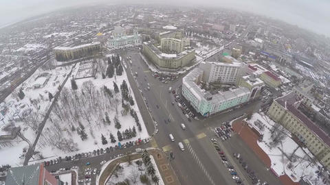 Flying over the city centre of Kursk, Russia. Aerial view Footage