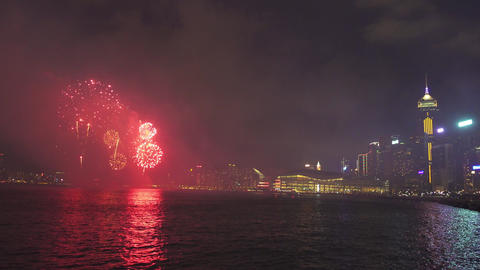 Chinese New Year Fireworks in Hong Kong, 4k Footage