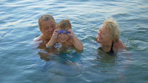 Happy family in the Sea Footage