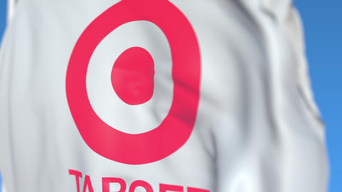 Waving flag with Target Corporation logo, close-up. Editorial loopable 3D Live Action