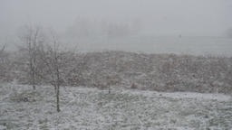 Winter landscape of falling snow over a rural area Footage