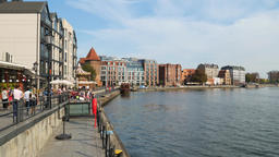 Promenade along Motlawa river. Old Town in Gdansk, Poland Footage