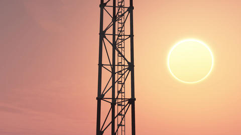 5G Telecommunication Tower Antennas Sunset 1 Animation