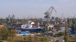 View at industrial area of shipyard in Gdansk city, Poland Footage