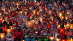 Background of many colorful candle lights at night Footage