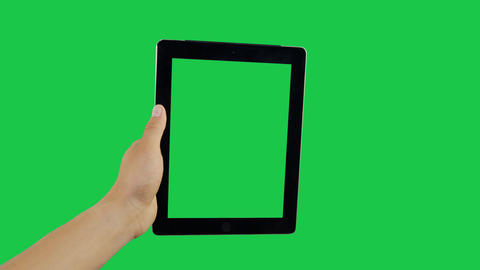 Scroll Down Digital Tablet Green Screen Archivo