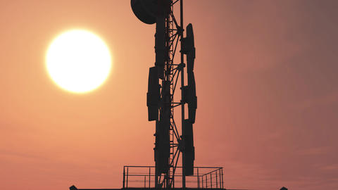5G Telecommunication Tower Antennas Sunset 10 Animation