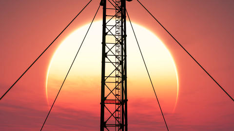 5G Telecommunication Tower Antennas Sunset 18 Animation