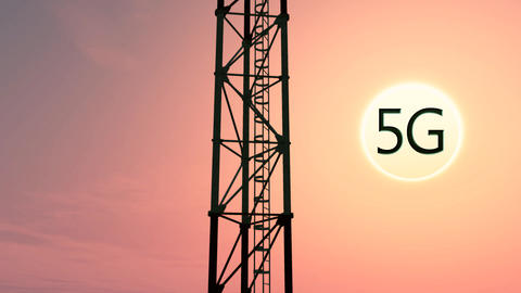 5G Telecommunication Tower Antennas Sunset 3 Animation