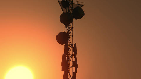 5G Telecommunication Tower Antennas Sunset 23 Animation