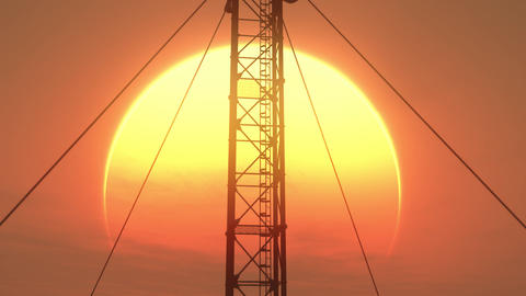5G Telecommunication Tower Antennas Sunset 17 Animation