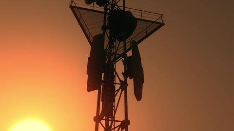 5G Telecommunication Tower Antennas Sunset 26 Animation