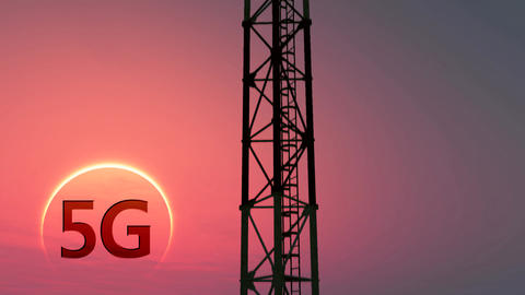 5G Telecommunication Tower Antennas Sunset 6 Animation