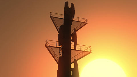 5G Telecommunication Tower Antennas Sunset 32 Animation