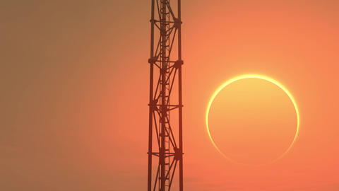 5G Telecommunication Tower Antennas Sunset 8 Animation