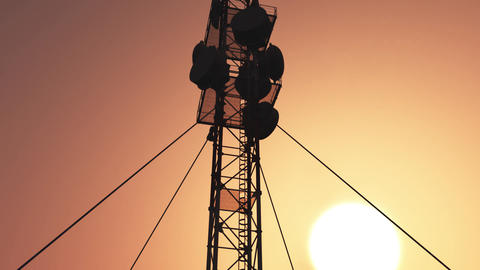 5G Telecommunication Tower Antennas Sunset 19 Animation