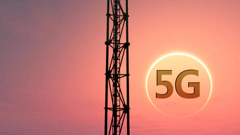 5G Telecommunication Tower Antennas Sunset 9 Animation
