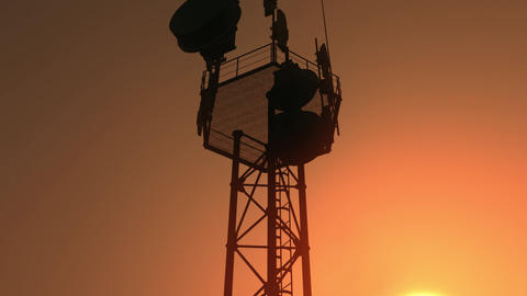 5G Telecommunication Tower Antennas Sunset 28 Animation