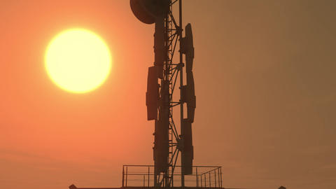 5G Telecommunication Tower Antennas Sunset 11 Animation