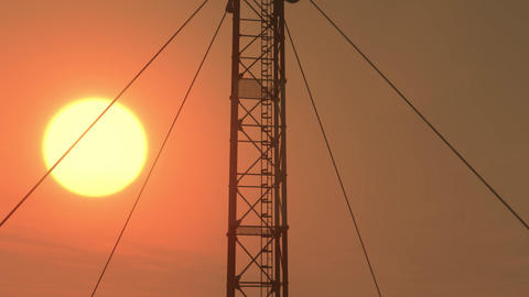 5G Telecommunication Tower Antennas Sunset 14 Animation