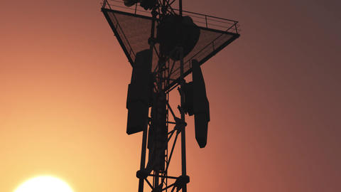 5G Telecommunication Tower Antennas Sunset 25 Animation