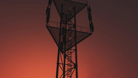 5G Telecommunication Tower Antennas Sunset 29 Animation