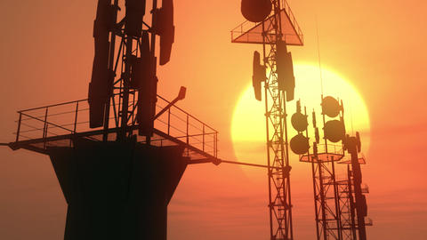 5G Telecommunication Tower Antennas Sunset 34 Animation