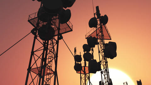 5G Telecommunication Tower Antennas Sunset 35 Animation