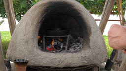 Traditional, old dome oven made from clay Footage