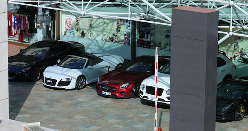 Luxury Cars Park In Front Of The Hotel Fairmont Monte-Carlo Footage