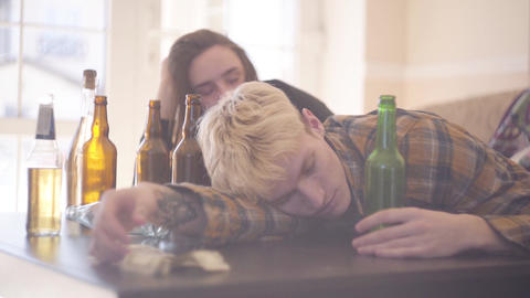 Teenagers under drug and alcohol intoxication. Troubled teens. Drug addiction Footage