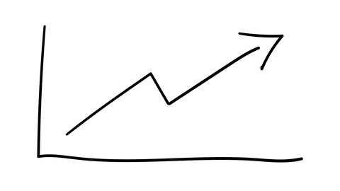A simple hand-drawn graph of growth on the alpha channel Animation