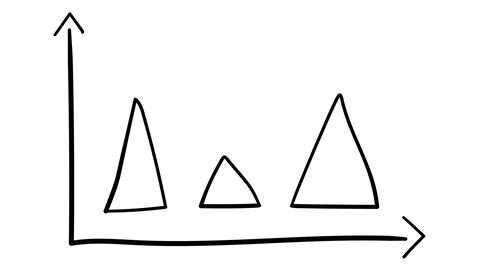 Hand-drawn graph with triangular elements Footage