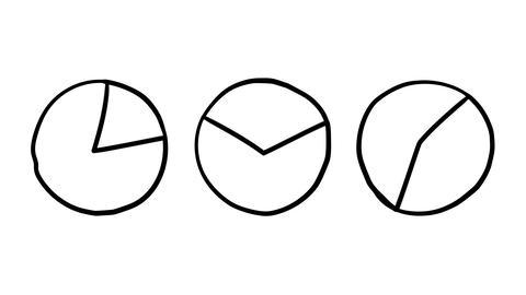 Animation rotation of three pie charts Footage
