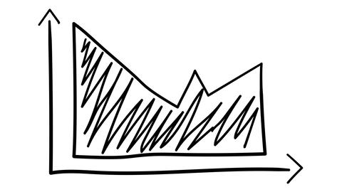 Hand-drawn graph with shaded area Footage