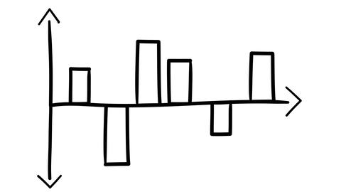 Hand-drawn graph with columns of deviations from the central axis Footage