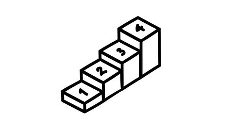 Hand-drawn infographic element - boxes in ascending order Footage